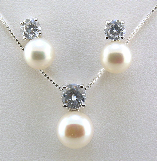 7-9MM White Freshwater Pearl CZ Earrings Pendant Chain Set, Silver