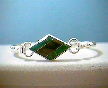 Silver Bangle w/ Black Onyx & Malachite Inlay