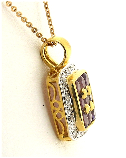 Genuine Amethyst and Diamond Pendant 18K