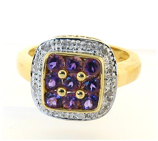 Genuine Amethyst and Diamond Ring 18K, Size 7.5