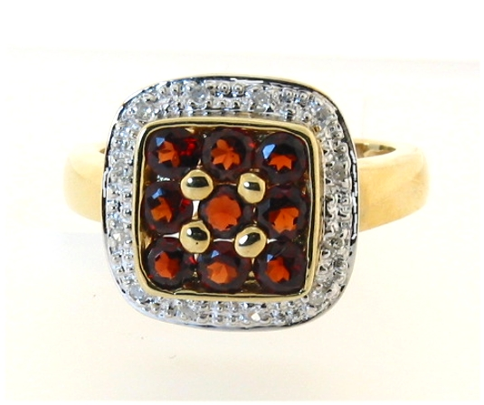 Genuine Garnet and Diamond Ring 14K Gold, Size 7
