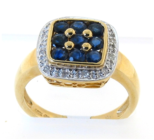Genuine Sapphire and Diamond Ring 14K Gold, Size 7.5