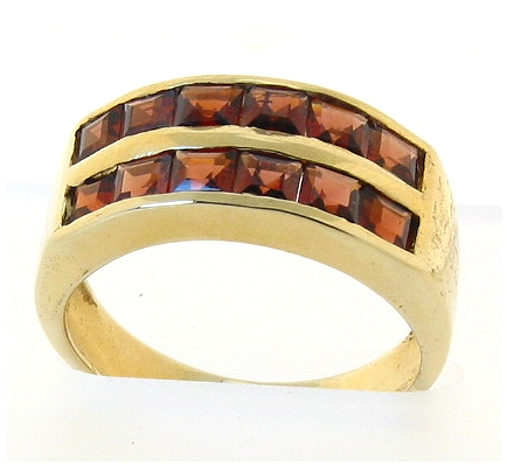 Genuine 12 Garnet Ring 14K Gold, Size 6.75