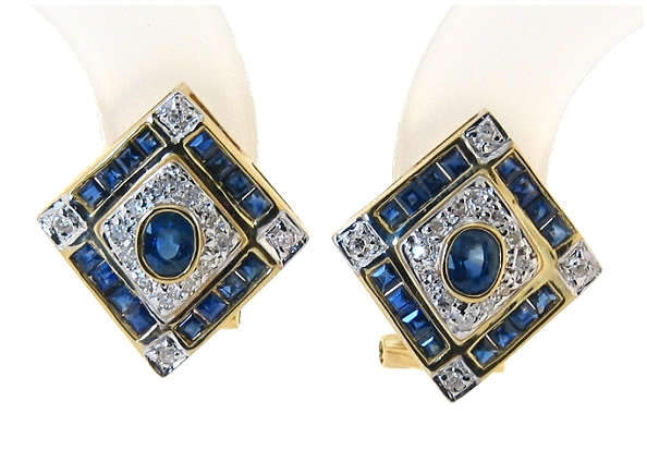 Genuine Sapphire and Diamond Earrings 14K, Diamond Shape