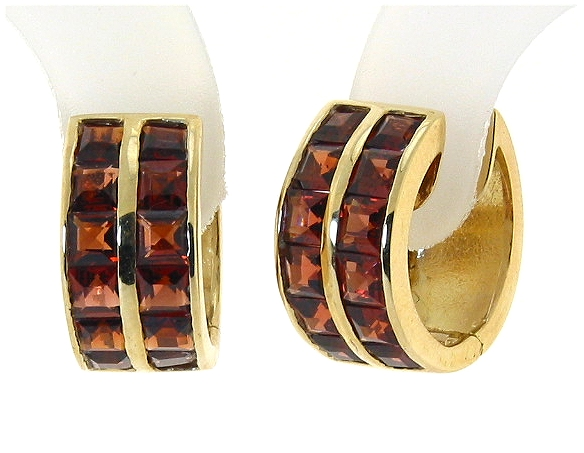 Genuine Garnet Earrings 14K Yellow Gold