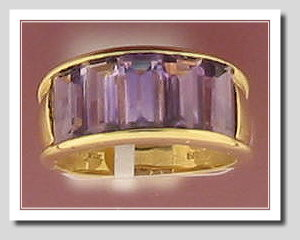Genuine 5 Stone Amethyst  Ring 14K Yellow Gold, Size 7