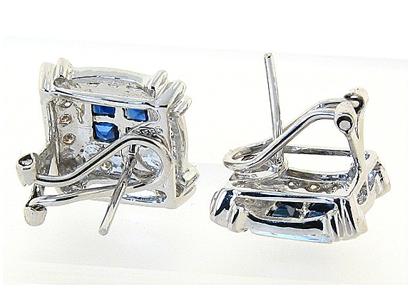 Beautiful Sapphire and Diamond Earrings, 14K White Gold w/Omega Clip