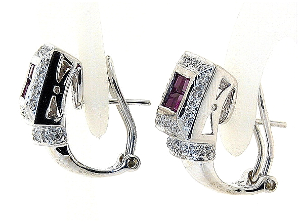 Beautiful Ruby and Diamond Earrings, 14K White Gold w/Omega Clip