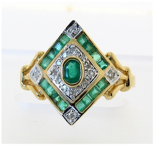 Genuine Emerald & Diamond Ring in Diamond Shape, 14K, Sizes 7 and 7.5