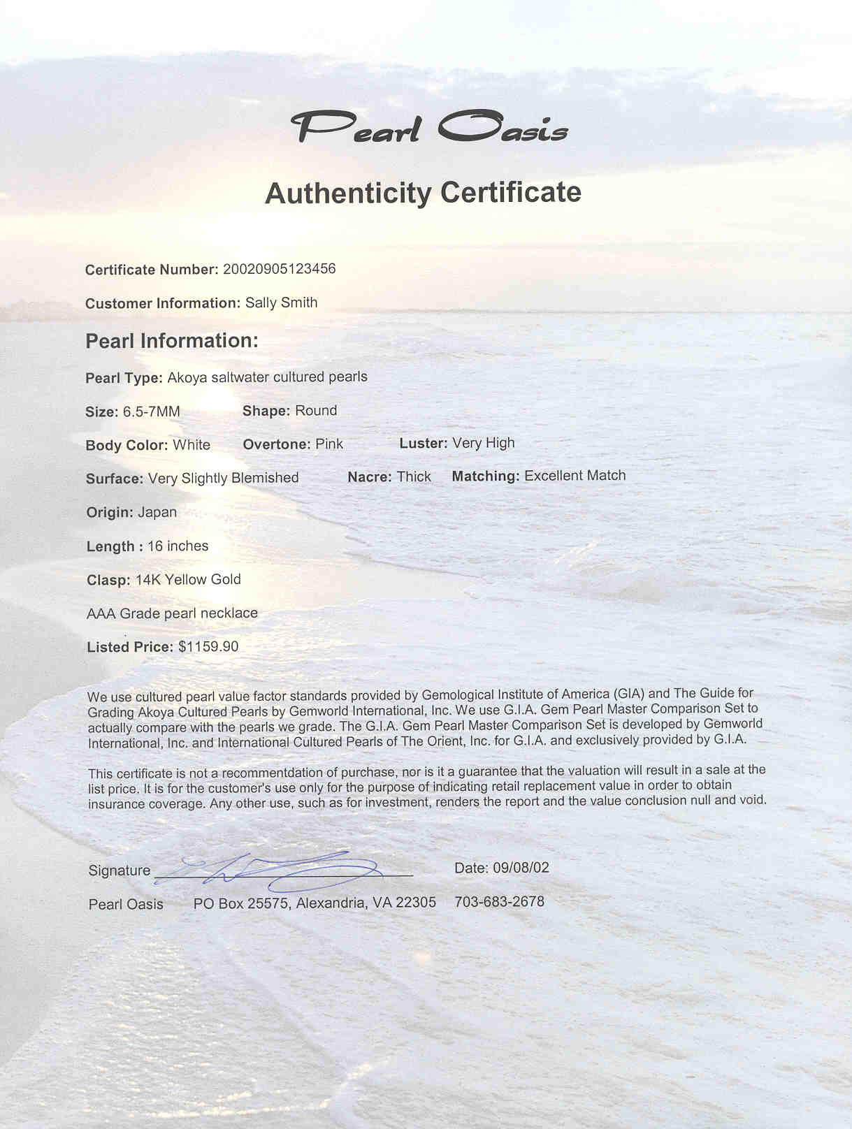 Pearl Oasis Authenticity Certificate