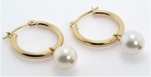 75MM White Akoya Pearl Hoop Earrings 14K Yellow Gold
